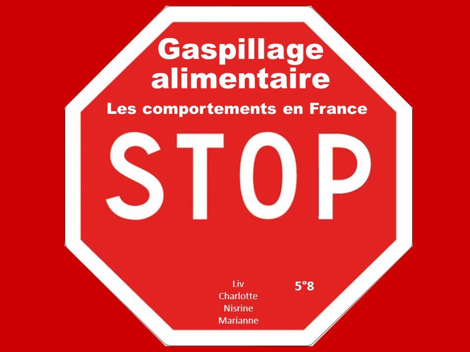 Gaspillage alimentaire Liv Charlotte Nisrine Marianne Les comportements en France 5°8