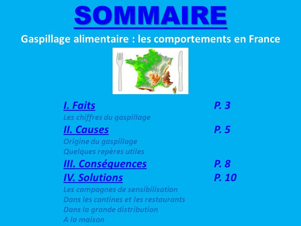 SOMMAIRE I.FaitsI. FaitsP. 3 Les chiffres du gaspillage II.
