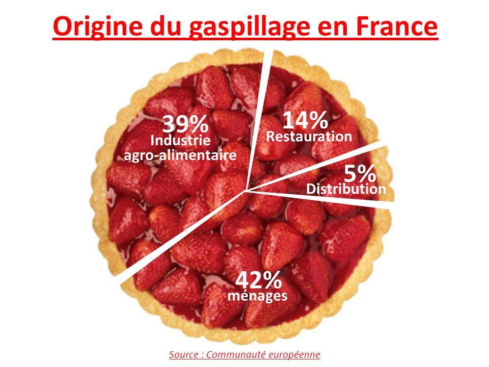 C C C C 39% 42% 14% 5% Industrie agro-alimentaire ménages Restauration Distribution Source : Communauté européenne Origine du gaspillage en France