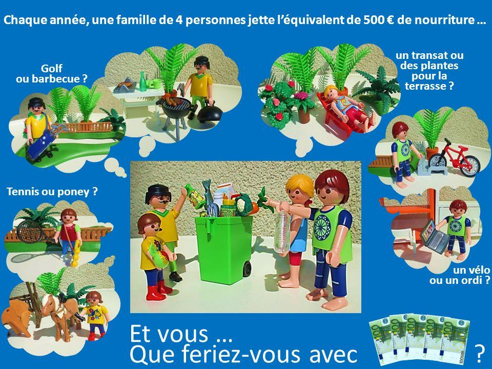 CONSEQUENCES Les familles jettent en moyenne 500 par an de nourriture, ce qui correspond à jeter la moitié du budget utilisé pour leurs vacances. Le g