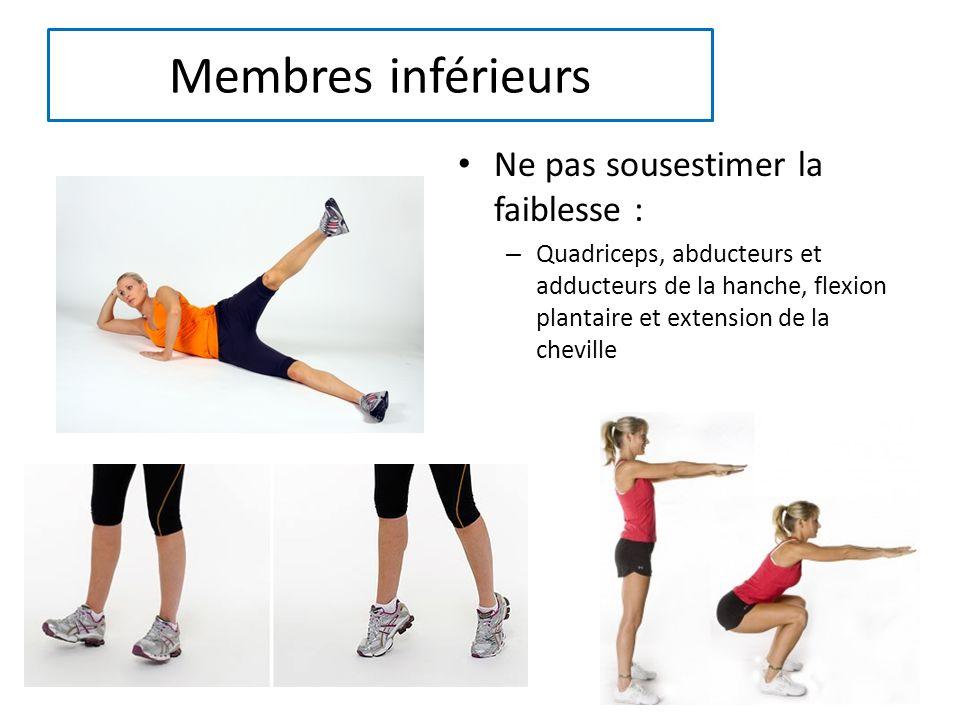 Membres inférieurs Ne pas sousestimer la faiblesse : – Quadriceps, abducteurs et adducteurs de la hanche, flexion plantaire et extension de la cheville
