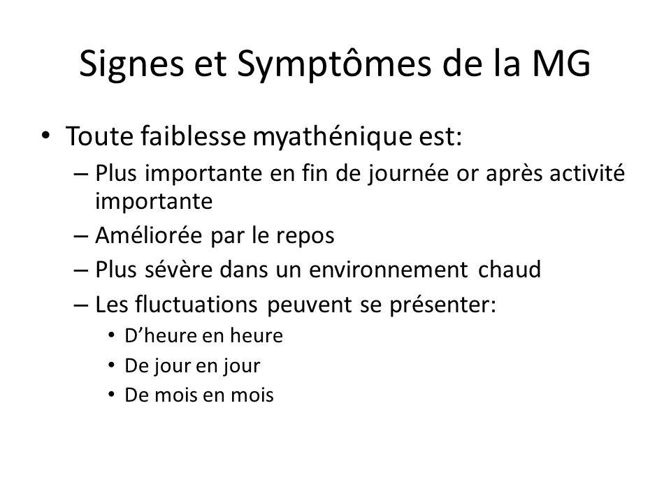Signes et Symptômes de la MG Toute faiblesse myathénique est: – Plus importante en fin de journée or après activité importante – Améliorée par le repos – Plus sévère dans un environnement chaud – Les fluctuations peuvent se présenter: Dheure en heure De jour en jour De mois en mois