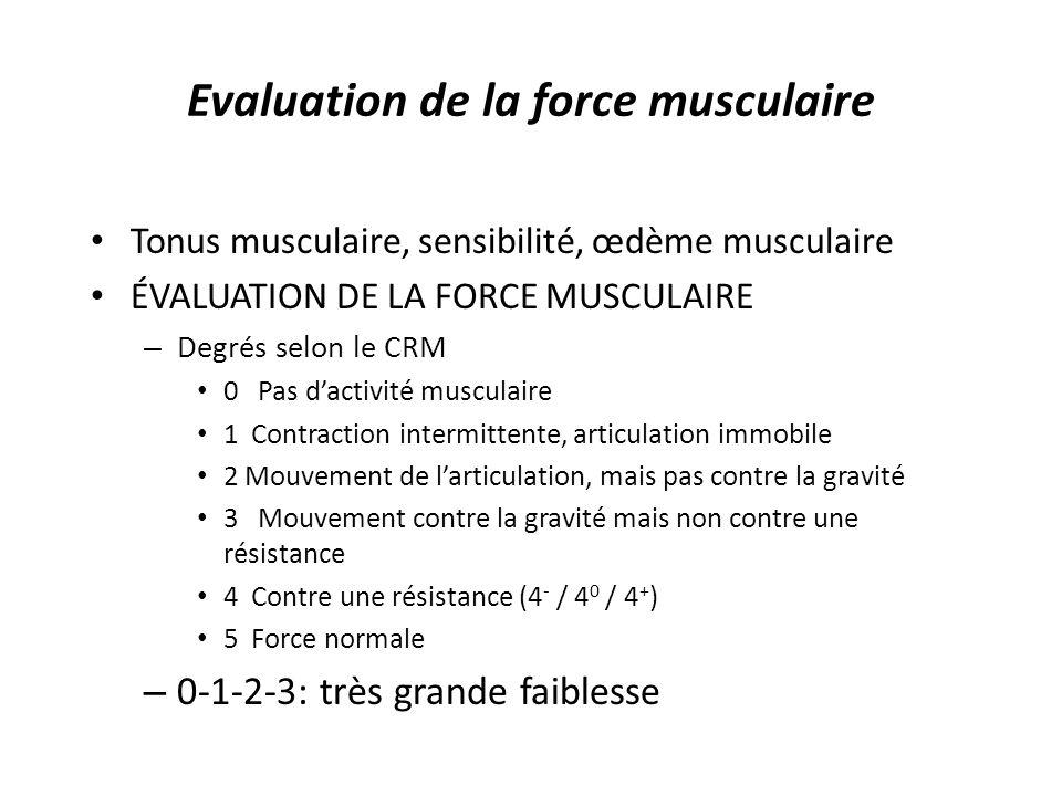 Evaluation de la force musculaire Tonus musculaire, sensibilité, œdème musculaire ÉVALUATION DE LA FORCE MUSCULAIRE – Degrés selon le CRM 0 Pas dactivité musculaire 1 Contraction intermittente, articulation immobile 2 Mouvement de larticulation, mais pas contre la gravité 3 Mouvement contre la gravité mais non contre une résistance 4 Contre une résistance (4 - / 4 0 / 4 + ) 5 Force normale – 0-1-2-3: très grande faiblesse