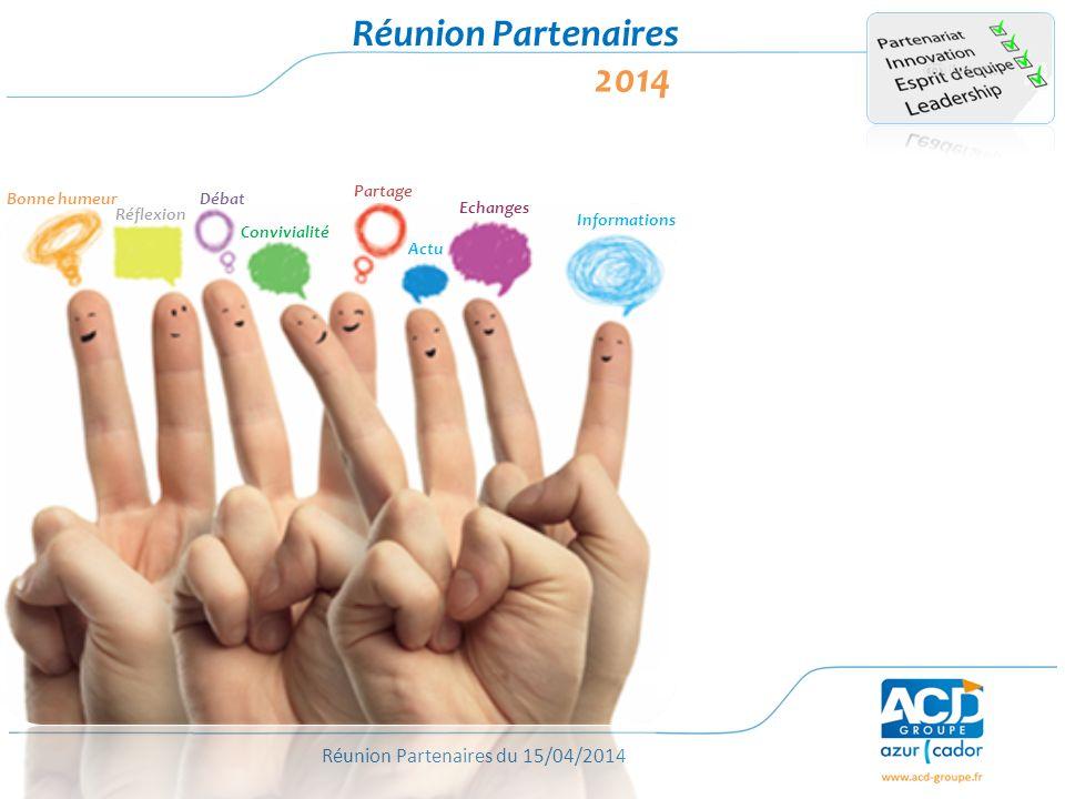 Réunion Partenaires du 15/04/2014 Réunion Partenaires 2014 Bonne humeur Réflexion Débat Convivialité Partage Echanges Informations Actu