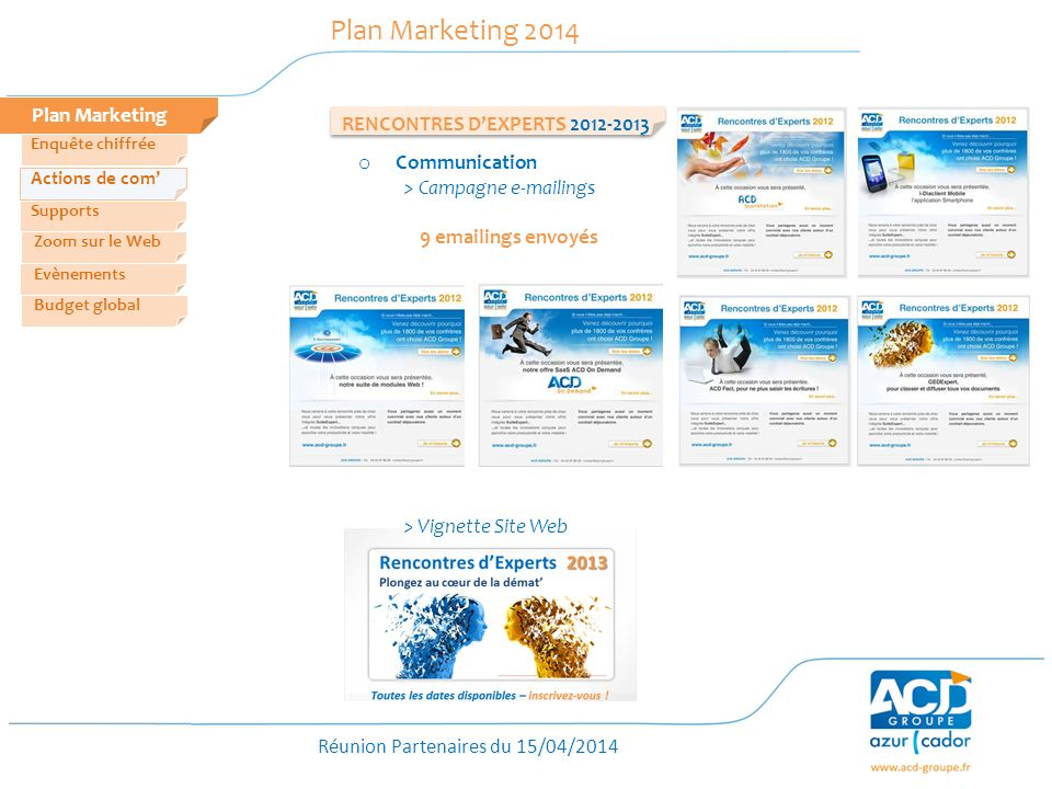 Réunion Partenaires du 15/04/2014 RENCONTRES DEXPERTS 2012-2013 Plan Marketing Plan Marketing 2014 Zoom sur le Web Evènements Actions de com Enquête c
