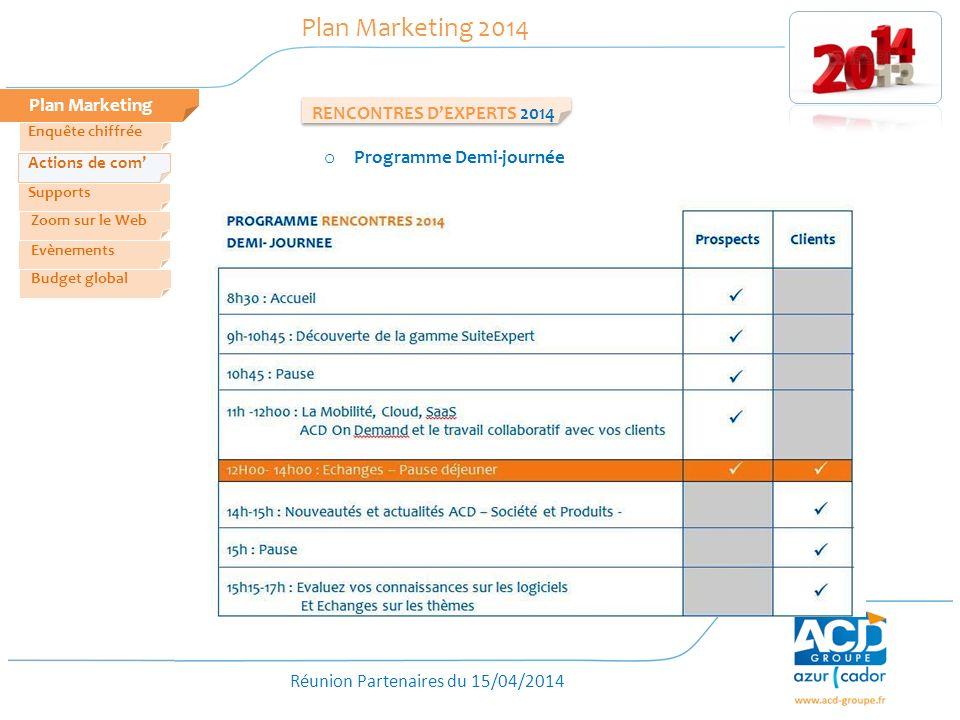 Réunion Partenaires du 15/04/2014 Plan Marketing Plan Marketing 2014 RENCONTRES DEXPERTS 2014 Zoom sur le Web Evènements Actions de com Enquête chiffrée Budget global Supports o Programme Demi-journée