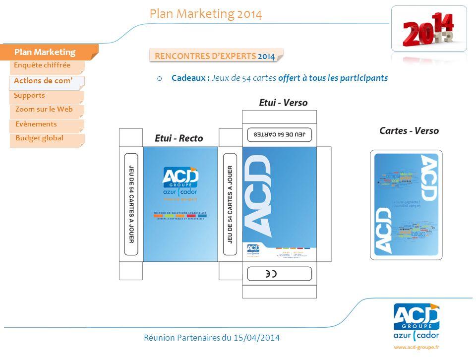 Réunion Partenaires du 15/04/2014 Plan Marketing Plan Marketing 2014 o Cadeaux : Jeux de 54 cartes offert à tous les participants RENCONTRES DEXPERTS