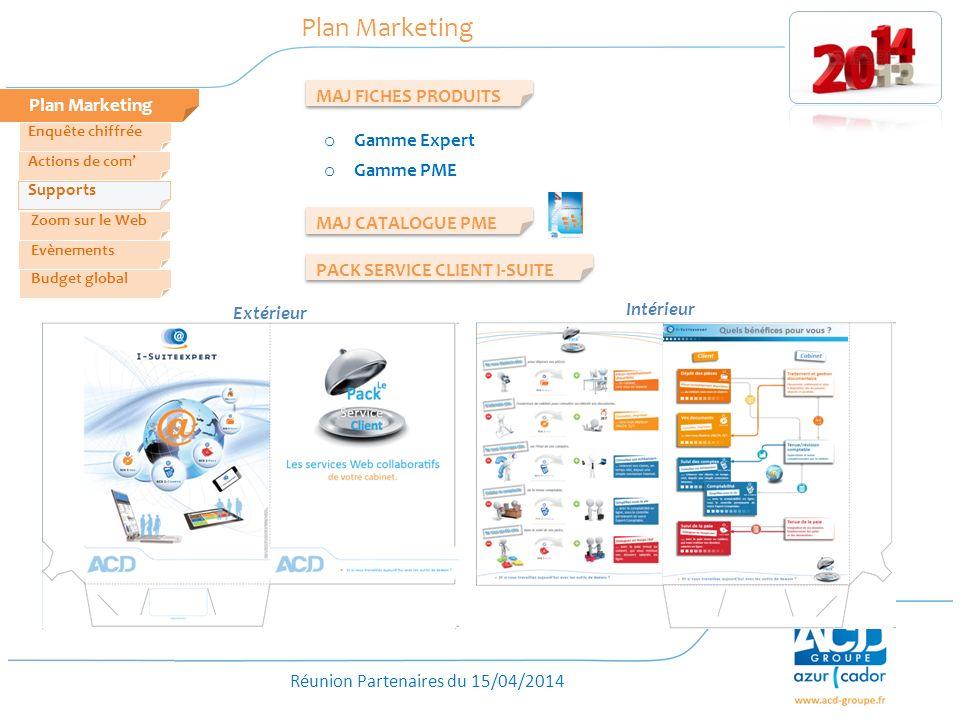 Réunion Partenaires du 15/04/2014 Plan Marketing MAJ FICHES PRODUITS o Gamme Expert o Gamme PME Zoom sur le Web Evènements Actions de com Enquête chif