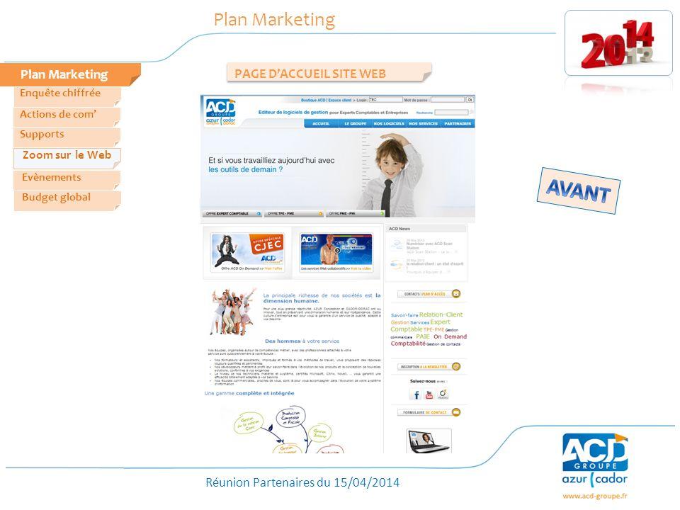 Réunion Partenaires du 15/04/2014 Plan Marketing PAGE DACCUEIL SITE WEB Zoom sur le Web Evènements Actions de com Enquête chiffrée Budget global Supports