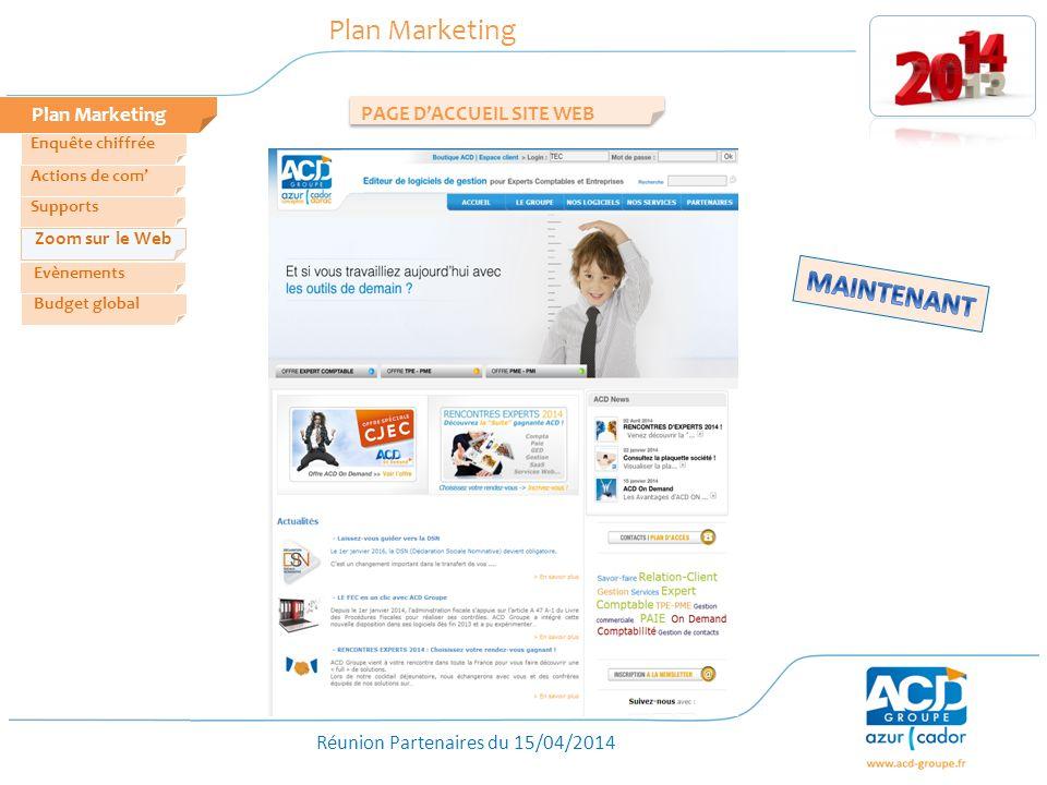 Réunion Partenaires du 15/04/2014 Plan Marketing PAGE DACCUEIL SITE WEB Zoom sur le Web Evènements Actions de com Enquête chiffrée Budget global Suppo