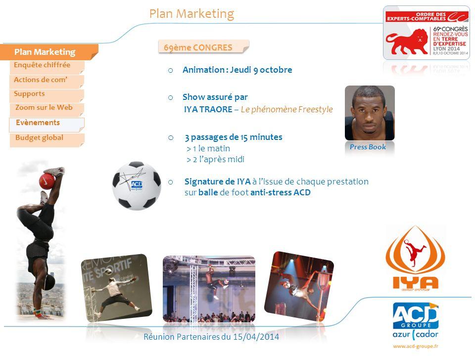 Réunion Partenaires du 15/04/2014 Plan Marketing Zoom sur le Web Evènements Actions de com Enquête chiffrée Budget global Supports 69ème CONGRES o Ani