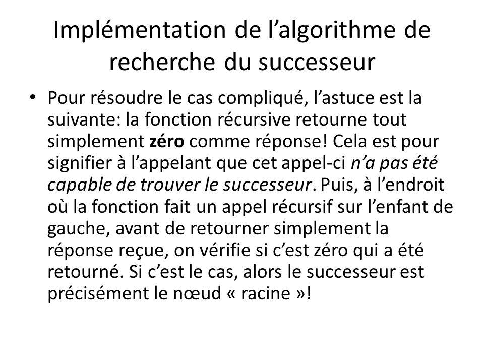 Implémentation de lalgorithme de recherche du successeur Nœud *successeur(Nœud *racine, float valeur) { if(!racine) { ??.