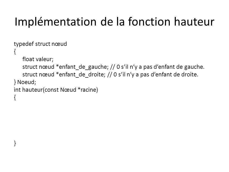 Structure pour larbre avec un point dentrée typedef struct nœud { float valeur; struct nœud *enfant_de_gauche; // 0 sil ny a pas denfant de gauche.