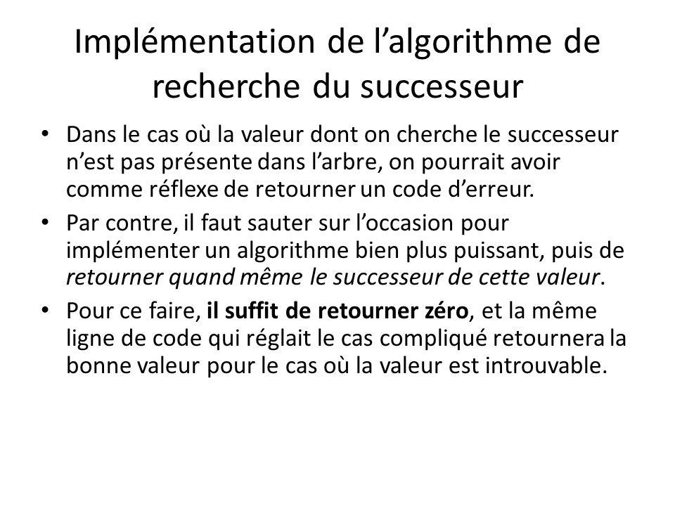 Implémentation de lalgorithme de recherche du successeur Nœud *successeur(Nœud *racine, float valeur) { if(!racine) return 0; // Ceci sera résolu de la même façon que le cas compliqué.