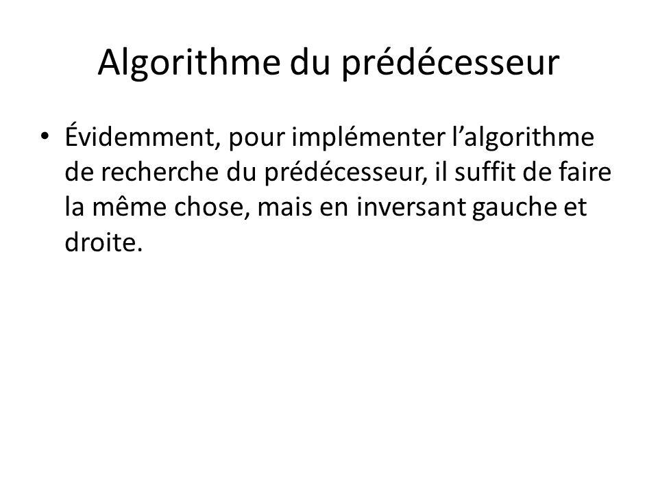 Algorithme de suppression Pour supprimer un nœud dans un arbre AVL, il y a deux cas simples et un cas compliqué: – Premier cas simple: le nœud à supprimer est une feuille.
