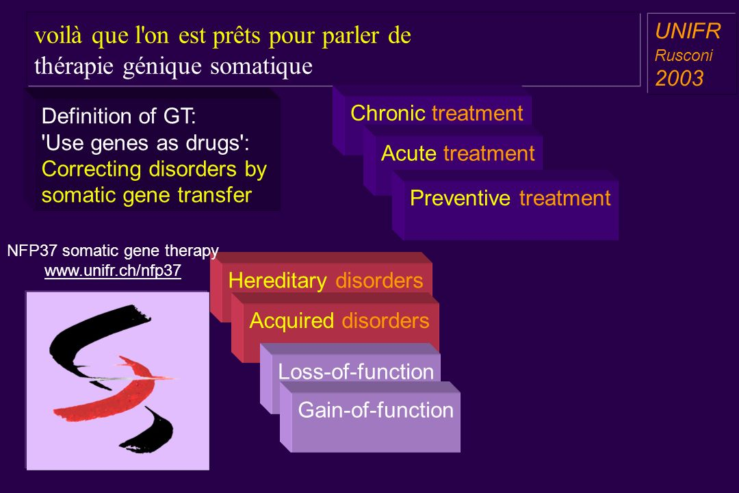 voilà que l'on est prêts pour parler de thérapie génique somatique a aa a aa UNIFR Rusconi 2003 Definition of GT: 'Use genes as drugs': Correcting dis