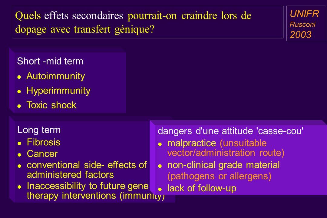 Quels effets secondaires pourrait-on craindre lors de dopage avec transfert génique.