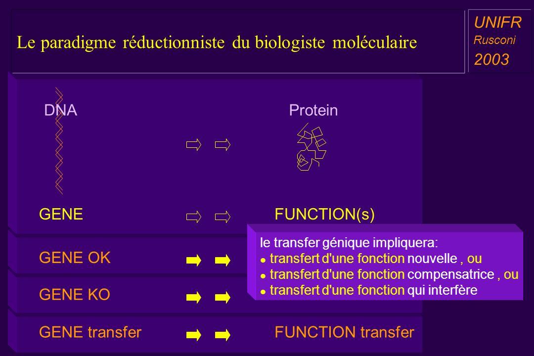 Le paradigme réductionniste du biologiste moléculaire a aa a aa UNIFR Rusconi 2003 a aa a aa GENE transferFUNCTION transfer GENE KOFUNCTION KO GENE OKFUNCTION OK DNA GENE Protein FUNCTION(s) sport boxe 01.mov Le paradigme réductionniste du biologiste moléculaire le transfer génique impliquera: transfert d une fonction nouvelle, ou transfert d une fonction compensatrice, ou transfert d une fonction qui interfère