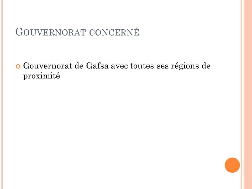 G OUVERNORAT CONCERNÉ Gouvernorat de Gafsa avec toutes ses régions de proximité