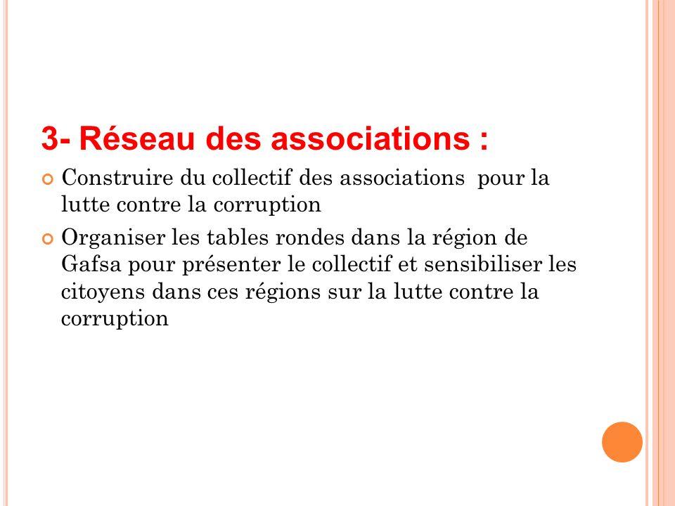 3- Réseau des associations : Construire du collectif des associations pour la lutte contre la corruption Organiser les tables rondes dans la région de