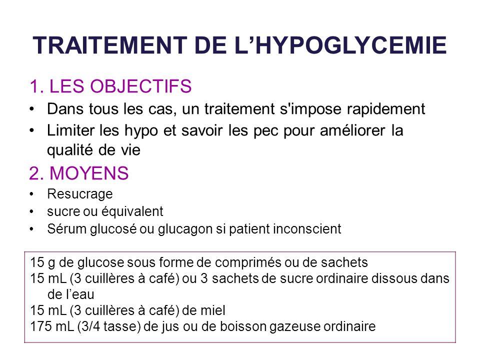 TRAITEMENT DE LHYPOGLYCEMIE 1. LES OBJECTIFS Dans tous les cas, un traitement s'impose rapidement Limiter les hypo et savoir les pec pour améliorer la