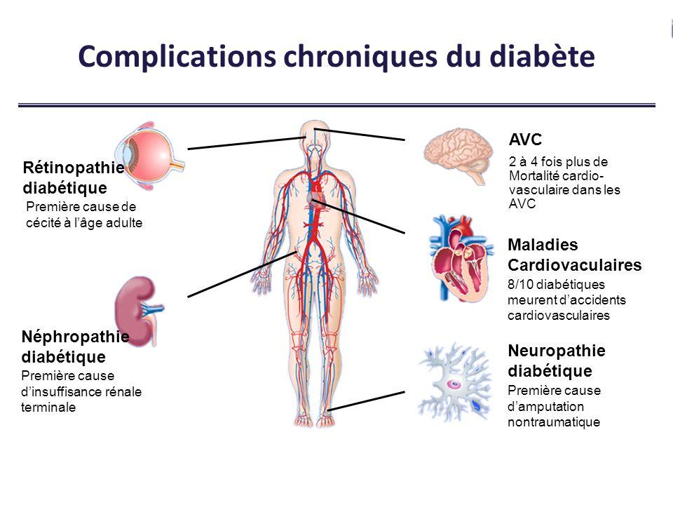Rétinopathie diabétique Première cause de cécité à lâge adulte Néphropathie diabétique Première cause dinsuffisance rénale terminale Maladies Cardiova