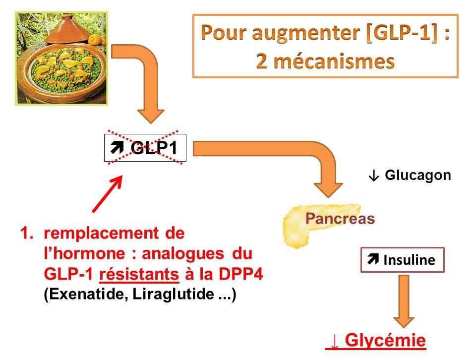Insuline Glycémie Pancreas 1.remplacement de lhormone : analogues du GLP-1 résistants à la DPP4 (Exenatide, Liraglutide...) GLP1 Glucagon c