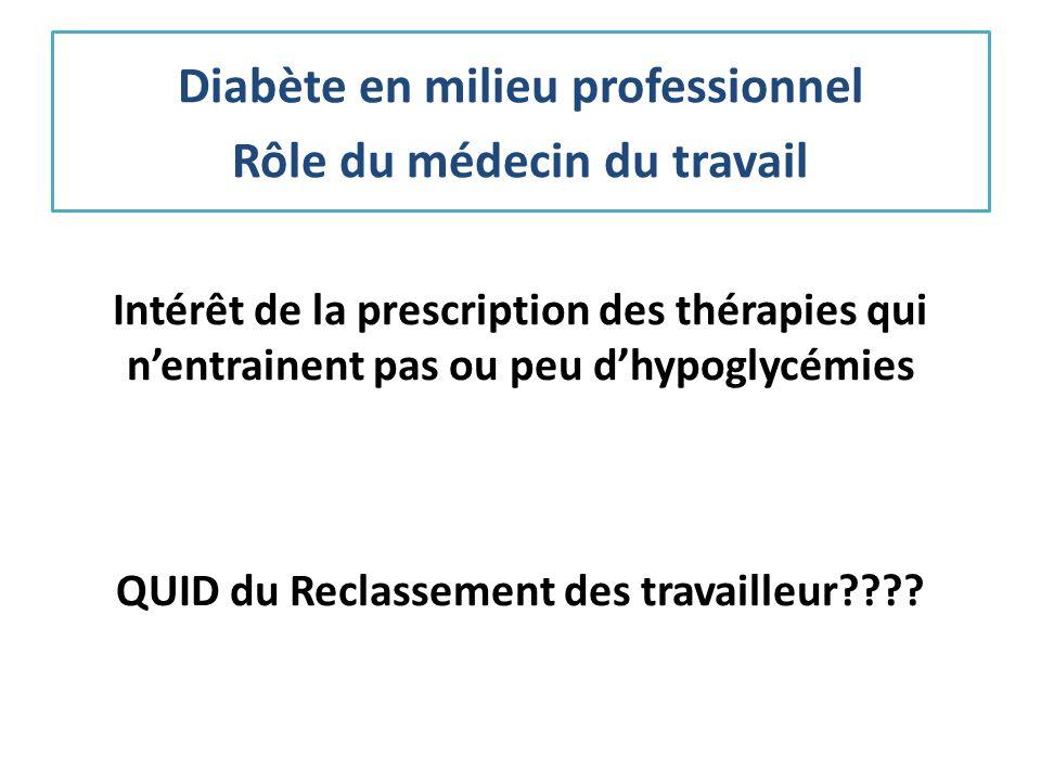 Intérêt de la prescription des thérapies qui nentrainent pas ou peu dhypoglycémies QUID du Reclassement des travailleur???? Diabète en milieu professi