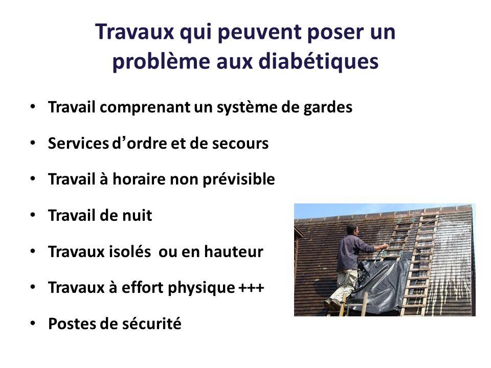 Travaux qui peuvent poser un problème aux diabétiques Travail comprenant un système de gardes Services dordre et de secours Travail à horaire non prév