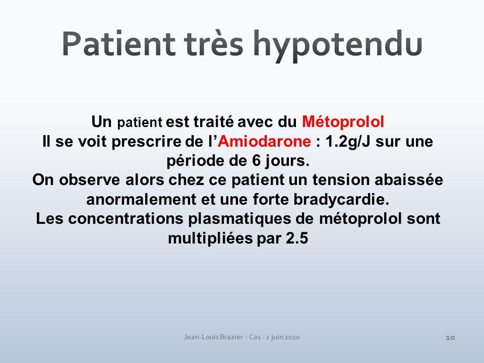 Un patient est traité avec du Métoprolol Il se voit prescrire de lAmiodarone : 1.2g/J sur une période de 6 jours. On observe alors chez ce patient un