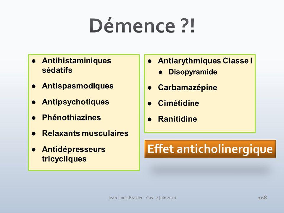 Antiarythmiques Classe I Disopyramide Carbamazépine Cimétidine Ranitidine Jean-Louis Brazier - Cas - 2 juin 2010 Effet anticholinergique 108