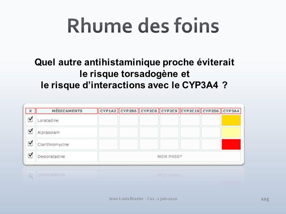 Jean-Louis Brazier - Cas - 2 juin 2010 Quel autre antihistaminique proche éviterait le risque torsadogène et le risque dinteractions avec le CYP3A4 ?