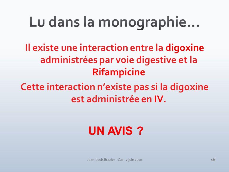 Jean-Louis Brazier - Cas - 2 juin 2010 Il existe une interaction entre la digoxine administrées par voie digestive et la Rifampicine Cette interaction