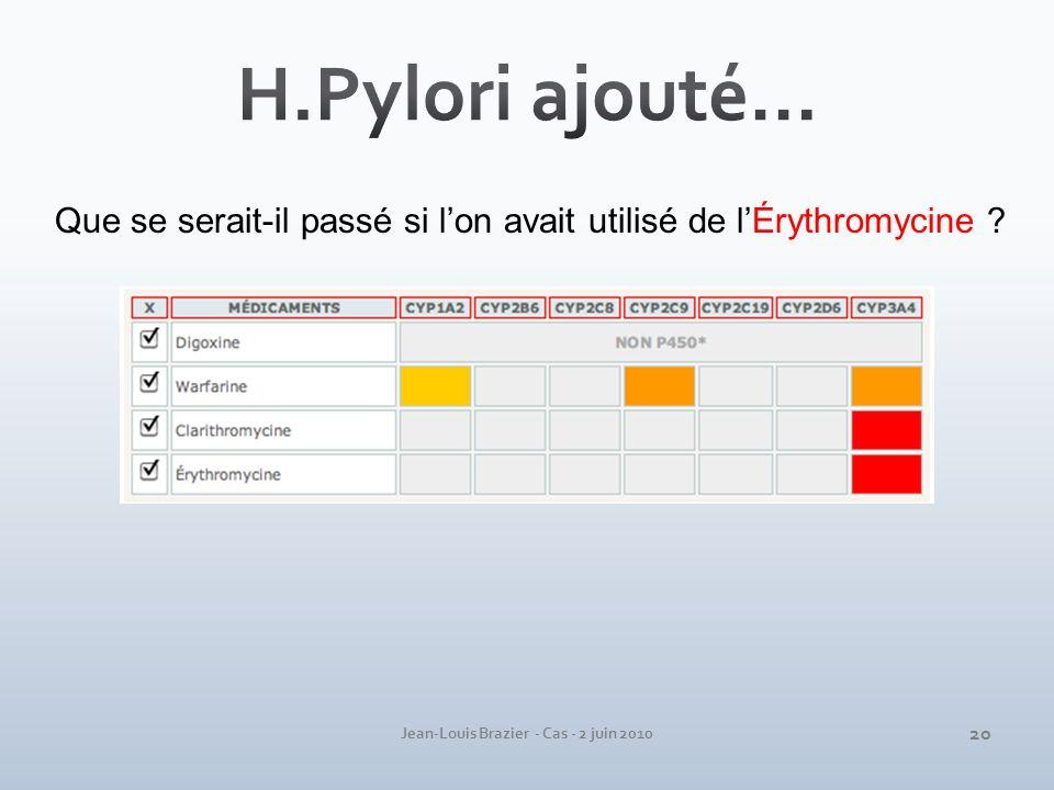 Jean-Louis Brazier - Cas - 2 juin 2010 Que se serait-il passé si lon avait utilisé de lÉrythromycine ? 20