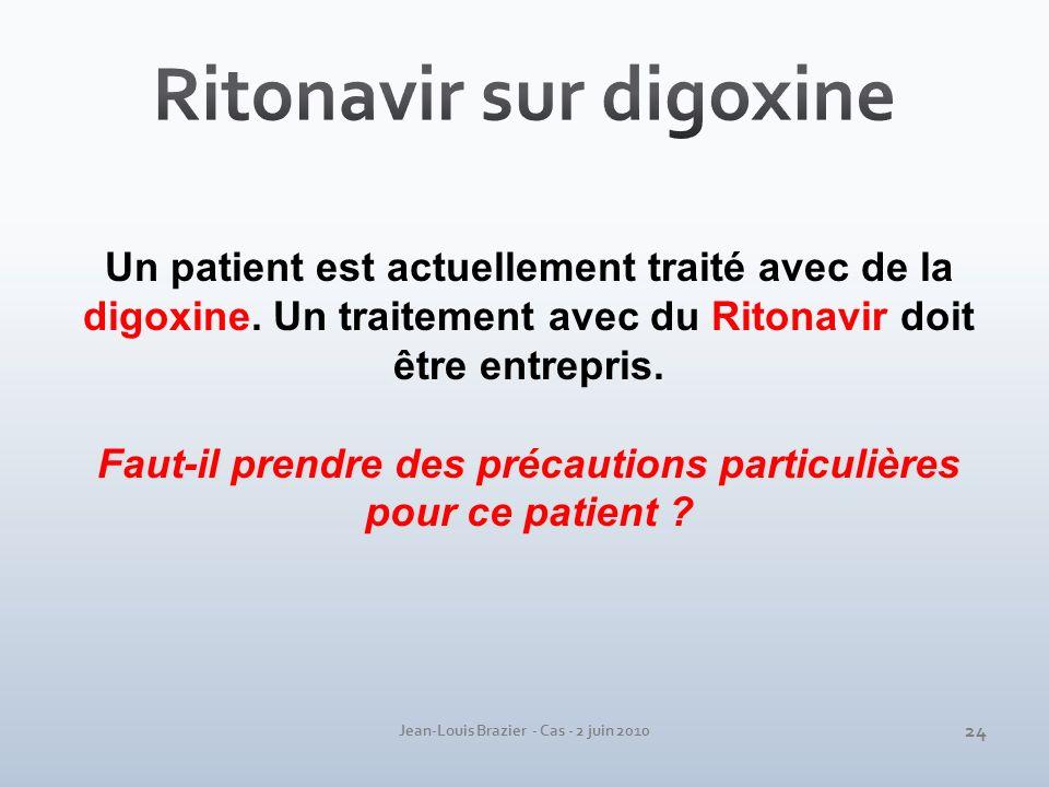 Jean-Louis Brazier - Cas - 2 juin 2010 Un patient est actuellement traité avec de la digoxine. Un traitement avec du Ritonavir doit être entrepris. Fa