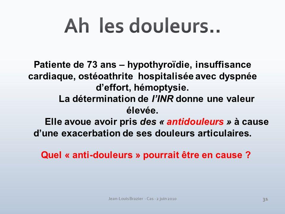 Jean-Louis Brazier - Cas - 2 juin 2010 Patiente de 73 ans – hypothyroïdie, insuffisance cardiaque, ostéoathrite hospitalisée avec dyspnée deffort, hém