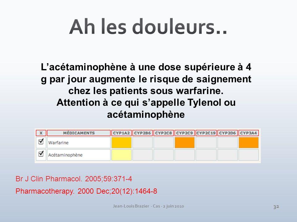 Jean-Louis Brazier - Cas - 2 juin 2010 Lacétaminophène à une dose supérieure à 4 g par jour augmente le risque de saignement chez les patients sous wa