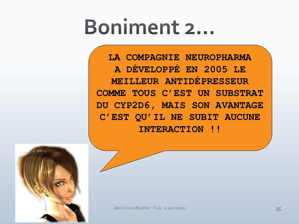 Jean-Louis Brazier - Cas - 2 juin 2010 LA COMPAGNIE NEUROPHARMA A DÉVELOPPÉ EN 2005 LE MEILLEUR ANTIDÉPRESSEUR COMME TOUS CEST UN SUBSTRAT DU CYP2D6,