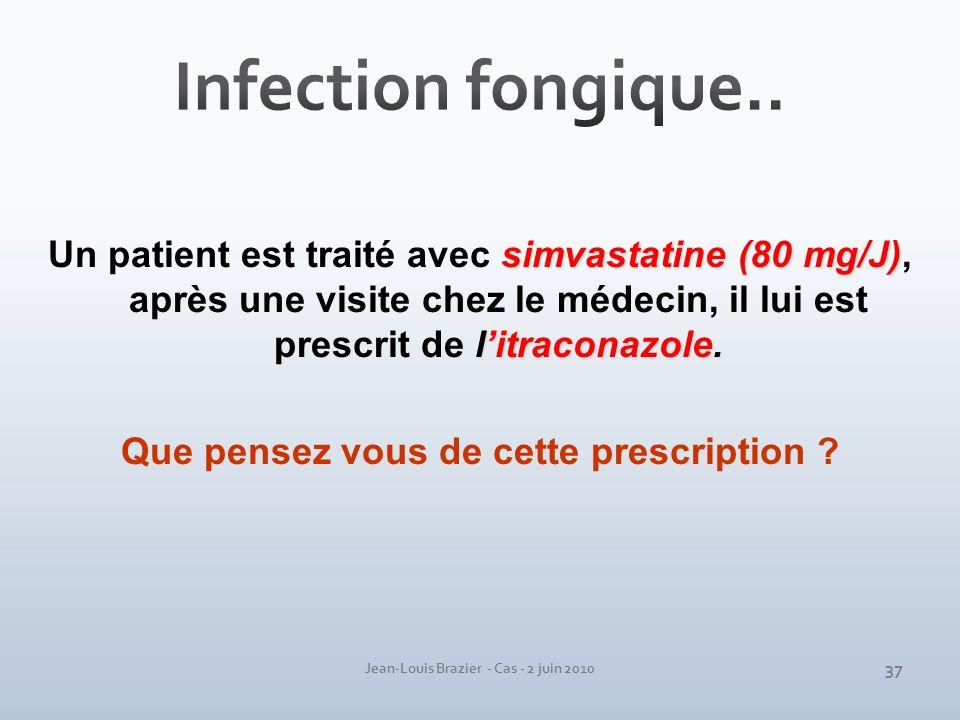 Jean-Louis Brazier - Cas - 2 juin 2010 simvastatine (80 mg/J) litraconazole. Un patient est traité avec simvastatine (80 mg/J), après une visite chez