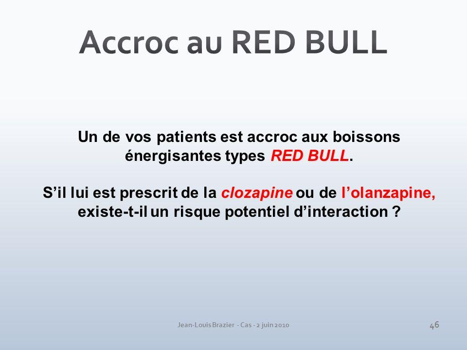 Jean-Louis Brazier - Cas - 2 juin 2010 RED BULL Un de vos patients est accroc aux boissons énergisantes types RED BULL. clozapinelolanzapine Sil lui e