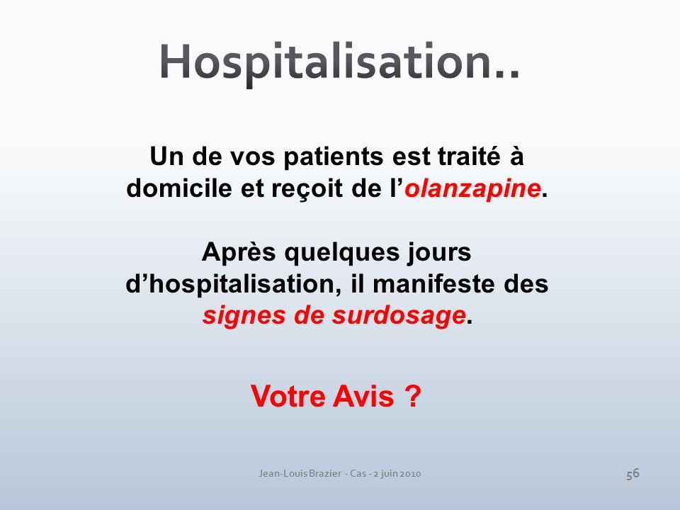 Jean-Louis Brazier - Cas - 2 juin 2010 olanzapine Un de vos patients est traité à domicile et reçoit de lolanzapine. signes de surdosage Après quelque