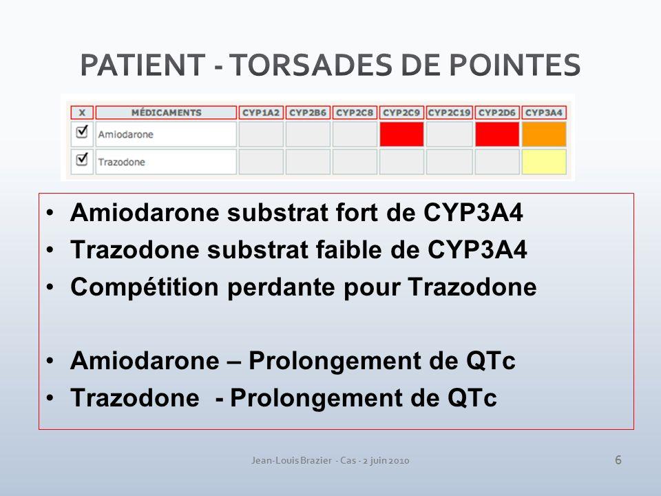 Jean-Louis Brazier - Cas - 2 juin 2010 Amiodarone substrat fort de CYP3A4 Trazodone substrat faible de CYP3A4 Compétition perdante pour Trazodone Amio