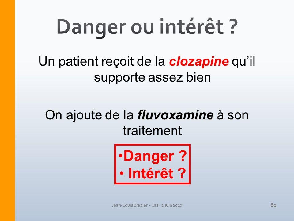 Jean-Louis Brazier - Cas - 2 juin 2010 clozapine Un patient reçoit de la clozapine quil supporte assez bien fluvoxamine On ajoute de la fluvoxamine à