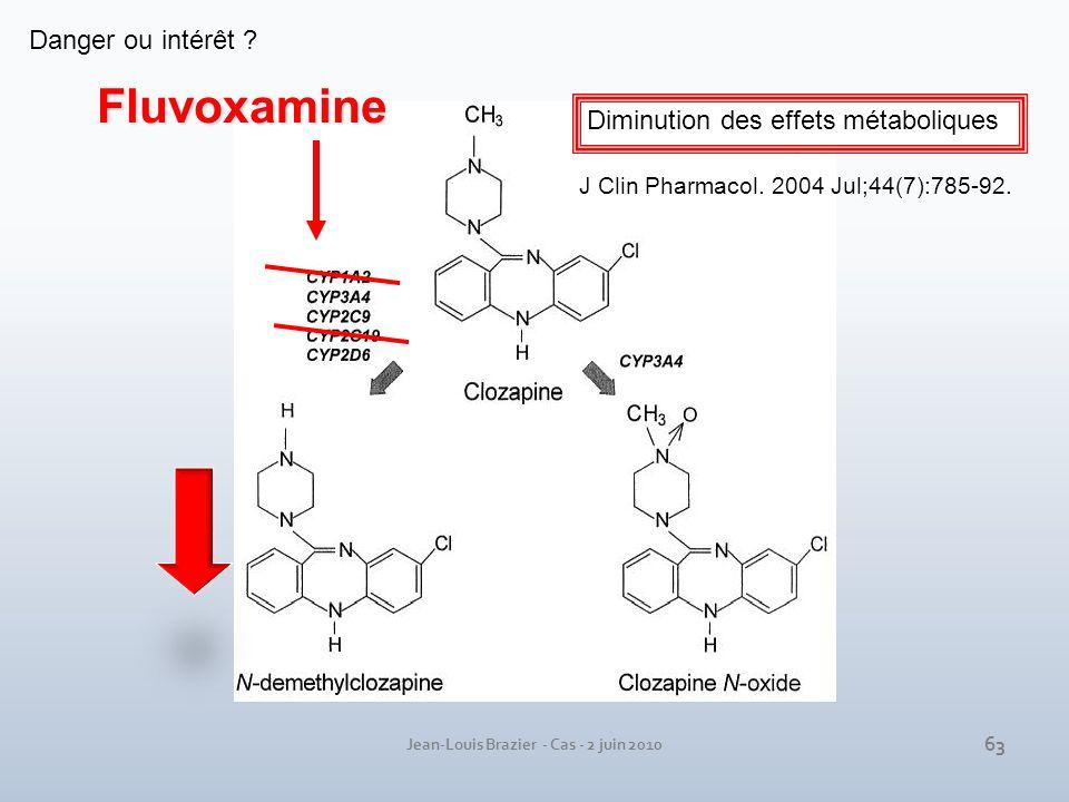 Jean-Louis Brazier - Cas - 2 juin 2010 Fluvoxamine Diminution des effets métaboliques J Clin Pharmacol. 2004 Jul;44(7):785-92. Danger ou intérêt ? 63