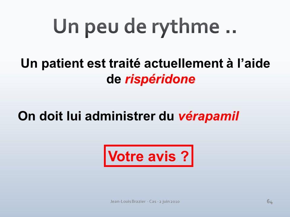 Jean-Louis Brazier - Cas - 2 juin 2010 rispéridone Un patient est traité actuellement à laide de rispéridone vérapamil On doit lui administrer du véra