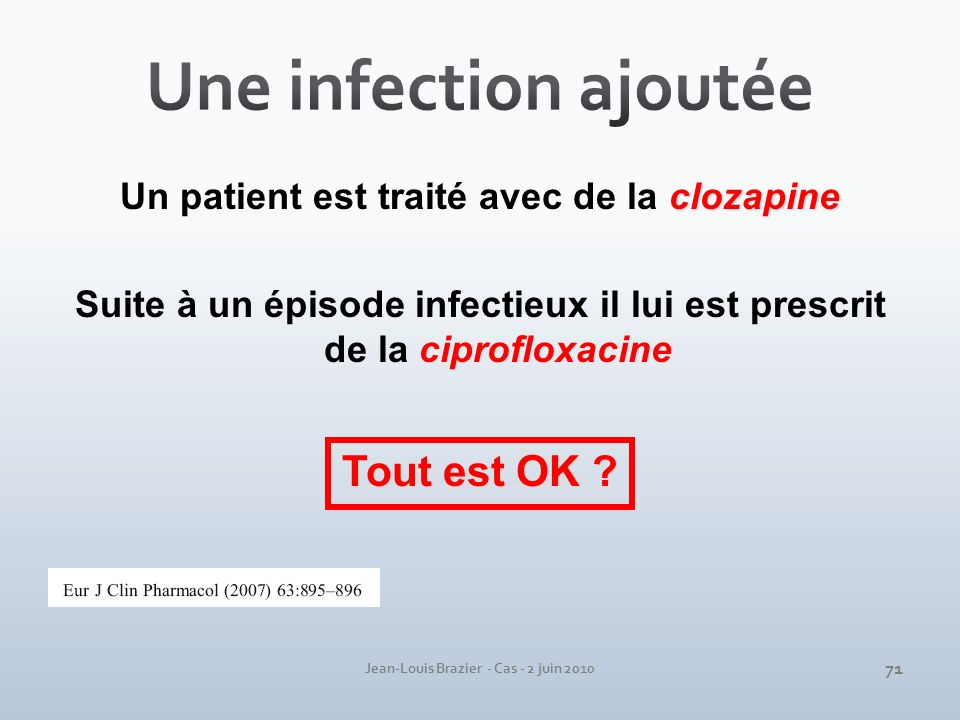 Jean-Louis Brazier - Cas - 2 juin 2010 clozapine Un patient est traité avec de la clozapine Suite à un épisode infectieux il lui est prescrit de la ci