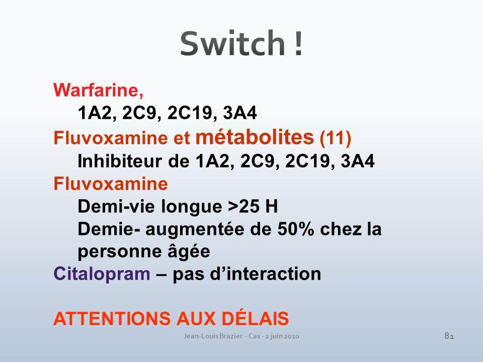 Jean-Louis Brazier - Cas - 2 juin 2010 Warfarine, 1A2, 2C9, 2C19, 3A4 Fluvoxamine et métabolites (11) Inhibiteur de 1A2, 2C9, 2C19, 3A4 Fluvoxamine De
