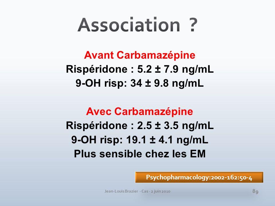 Jean-Louis Brazier - Cas - 2 juin 2010 Avant Carbamazépine Rispéridone : 5.2 ± 7.9 ng/mL 9-OH risp: 34 ± 9.8 ng/mL Avec Carbamazépine Rispéridone : 2.