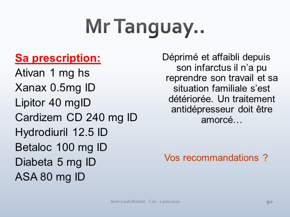 Jean-Louis Brazier - Cas - 2 juin 2010 Sa prescription: Ativan 1 mg hs Xanax 0.5mg ID Lipitor 40 mgID Cardizem CD 240 mg ID Hydrodiuril 12.5 ID Betalo