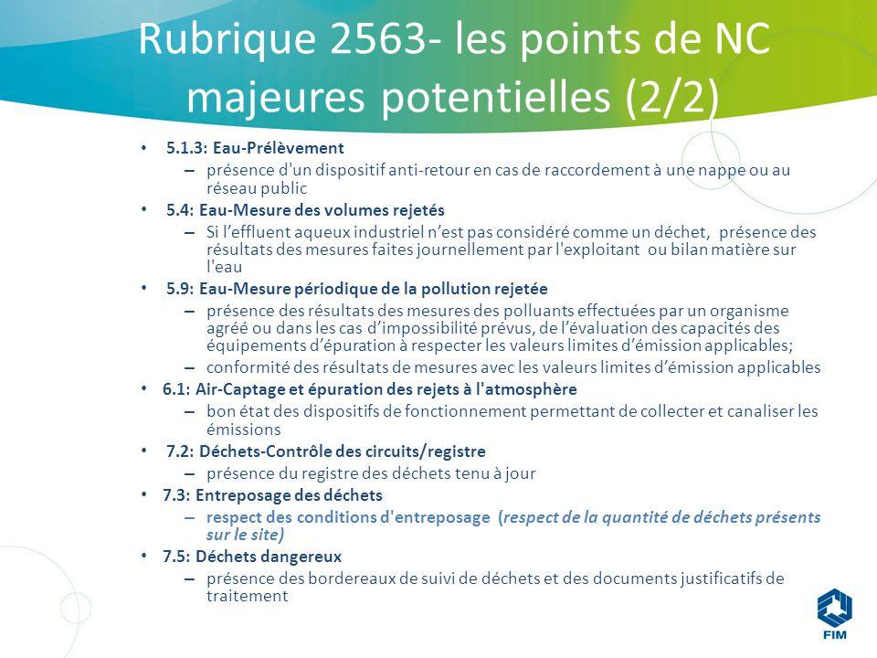 Rubrique 2563- les points de NC majeures potentielles (2/2) 5.1.3: Eau-Prélèvement – présence d un dispositif anti-retour en cas de raccordement à une nappe ou au réseau public 5.4: Eau-Mesure des volumes rejetés – Si leffluent aqueux industriel nest pas considéré comme un déchet, présence des résultats des mesures faites journellement par l exploitant ou bilan matière sur l eau 5.9: Eau-Mesure périodique de la pollution rejetée – présence des résultats des mesures des polluants effectuées par un organisme agréé ou dans les cas dimpossibilité prévus, de lévaluation des capacités des équipements dépuration à respecter les valeurs limites démission applicables; – conformité des résultats de mesures avec les valeurs limites démission applicables 6.1: Air-Captage et épuration des rejets à l atmosphère – bon état des dispositifs de fonctionnement permettant de collecter et canaliser les émissions 7.2: Déchets-Contrôle des circuits/registre – présence du registre des déchets tenu à jour 7.3: Entreposage des déchets – respect des conditions d entreposage (respect de la quantité de déchets présents sur le site) 7.5: Déchets dangereux – présence des bordereaux de suivi de déchets et des documents justificatifs de traitement